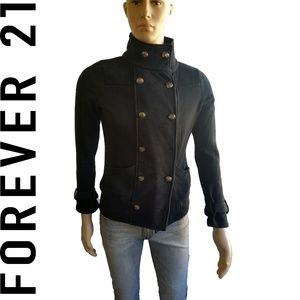 Forever 21 Black Peacoat Double Breasted SZ M